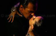 A couple dancing tango, Rojo tango