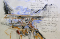 L'accident de Mermoz. Dessin musée Jean-Batiste Salis