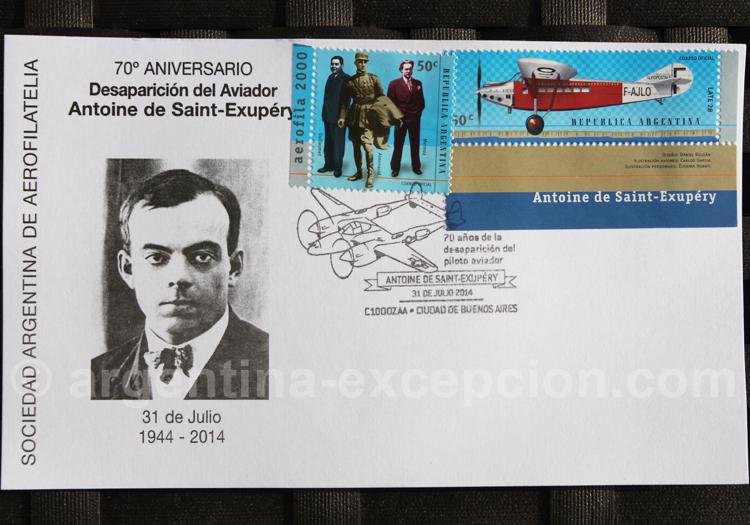 70 ème anniversaire de la disparition d'Antoine de Saint-Exupéry, aérophilatélie argentine