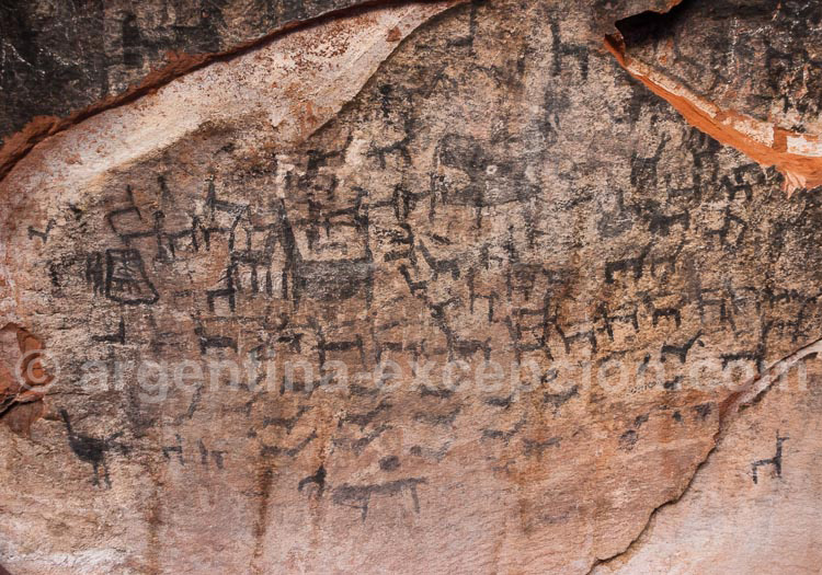 Art rupestre, lamas, cueva Inca, Quebrada Humahuaca