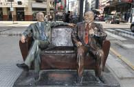 Statue de Borges et Alvarez à Buenos Aires