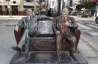 Statues of Borges and Alvarez in Buenos Aires