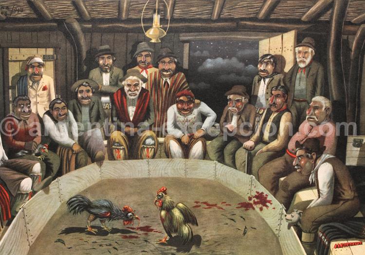 Combat de coqs. Dessin Florencio Molina Campos, calendrier Alpargatas