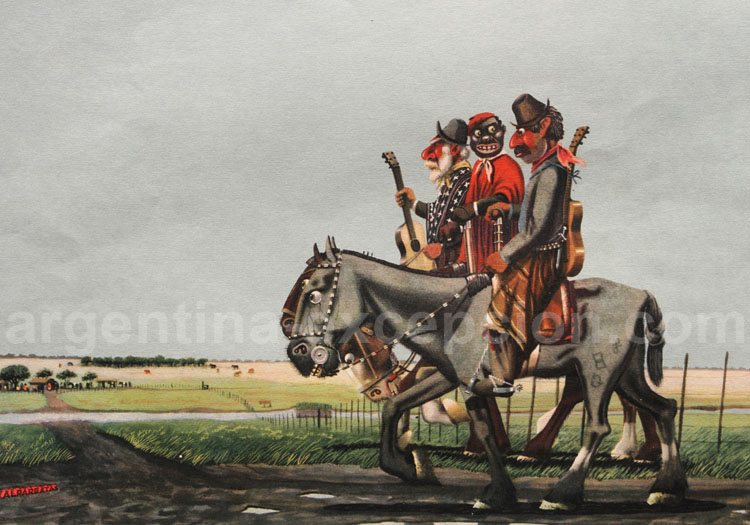 Les noirs en Argentine, dessin de Florencio Molina Campos