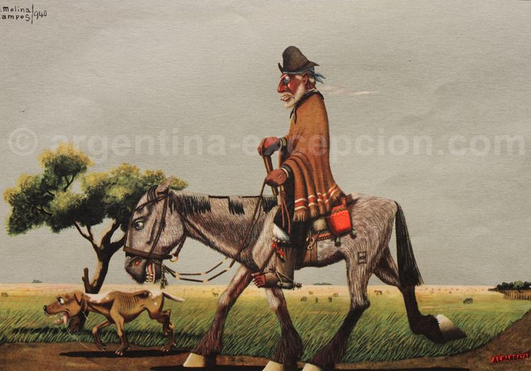 Le gaucho Martín Fierro. Dessin F. Molina Campos, calendrier Alpargatas