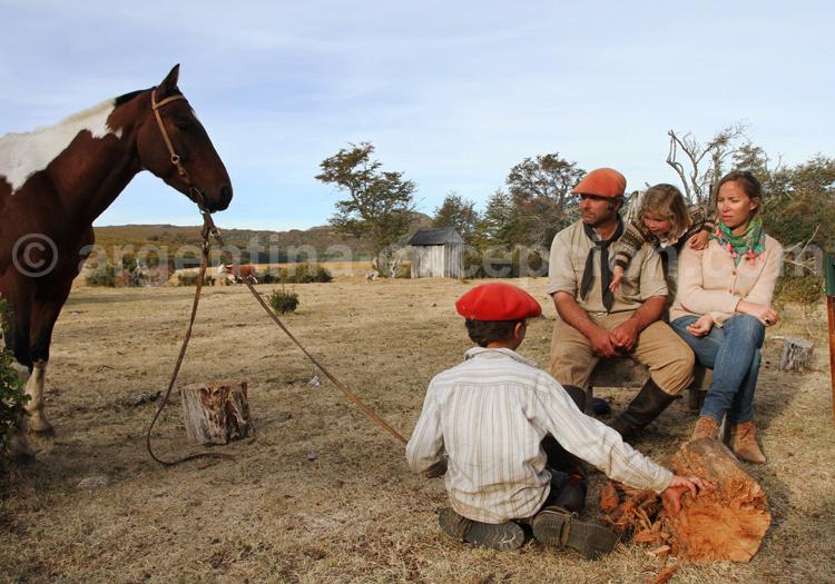 Famille gaucho, estancia Tres Valles