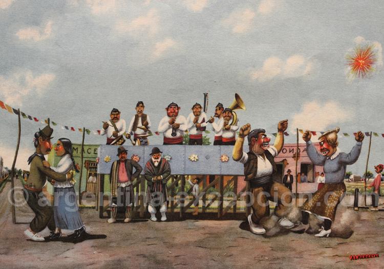 Fête gaucho, dessin F. Molina Campos