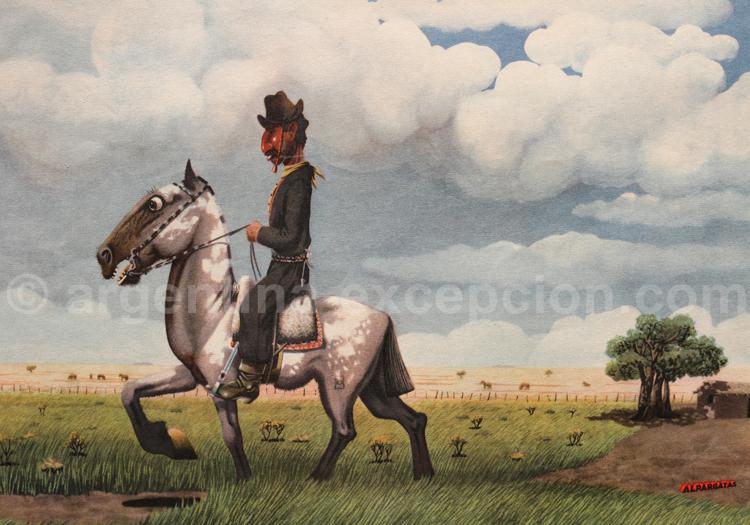 Gaucho dans La Pampa. Dessin Florencio Molina Campos, calendrier Alpargatas