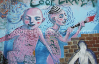 Mural on La Colifata, radio of El Borda's psychiatric hospital