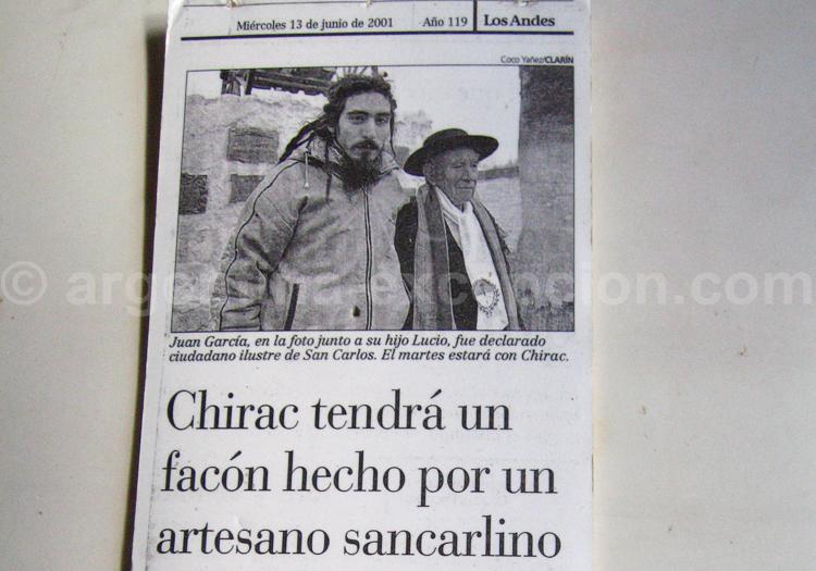 Article paru dans Los Andes annoncant le voyage de Juan Gualberto Garcia en France