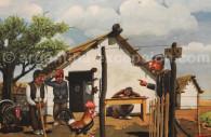 Recrutamento militar, pintado por Molina Campos