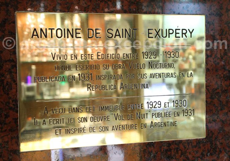Plaque commémorative Saint-Exupéry, galerie Güemes