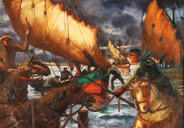 Tractant le bateau, Quinquela Martín. Crédit facebook