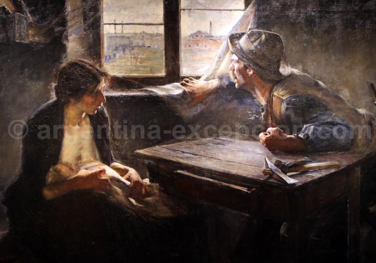 Sin pan y sin trabajo. Peinture 1894 d'Ernesto de la Cárcova, musée des Beaux Arts, Buenos Aires