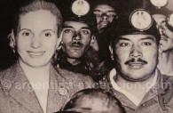 Evita with miners, Evita museum Buenos Aires