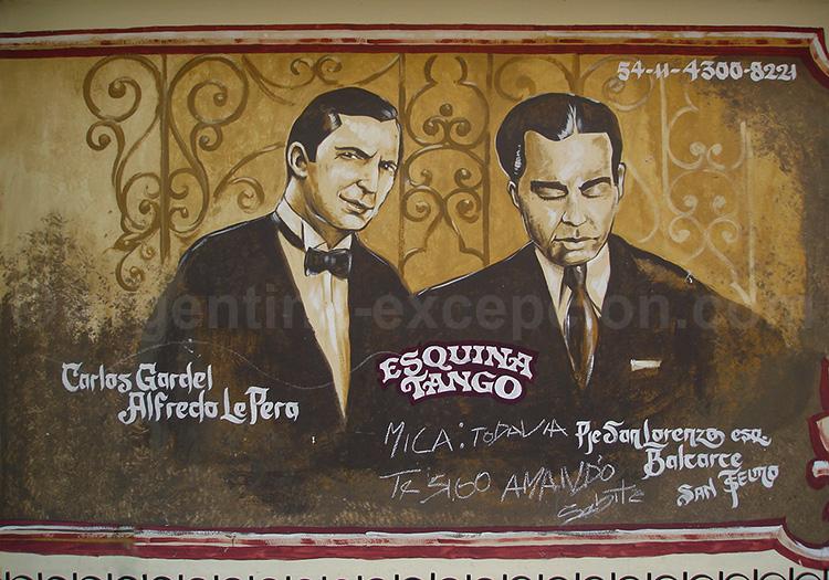 Fresque Carlos Gardel et Alfredo Le Pera Sorrentino