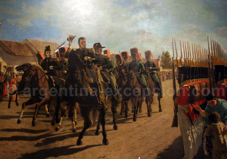 Revue des troupes par le Général San Martin