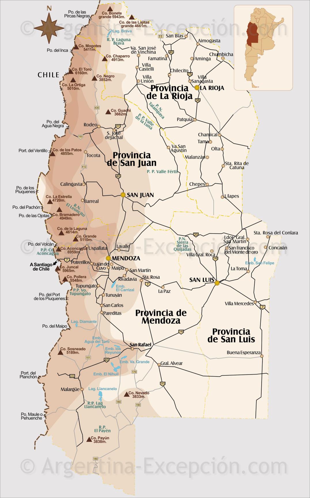 Map of Cuyo, Mendoza, Argentina