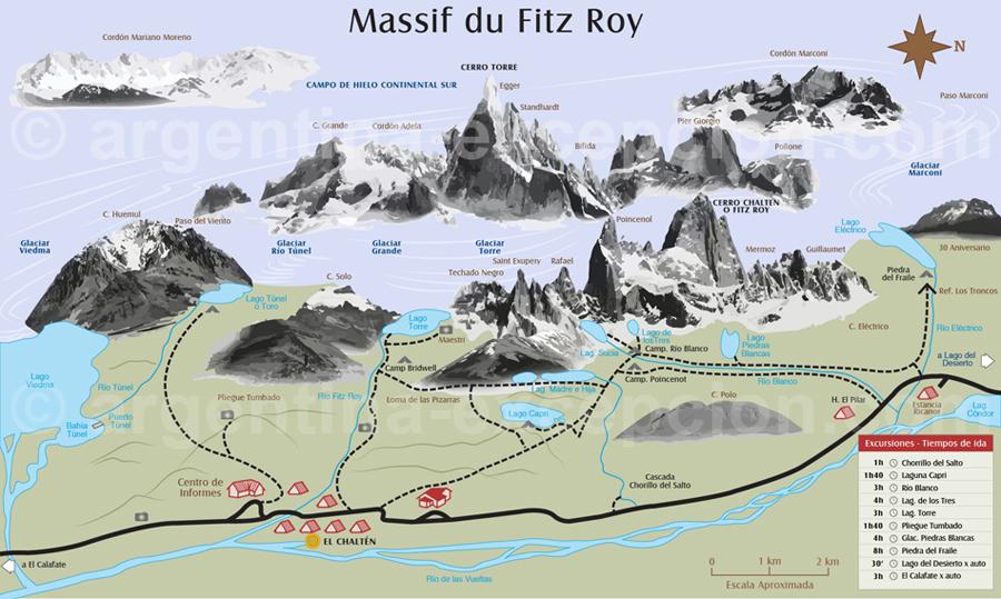 Croquis des randonnées dans le massif du Fitz Roy