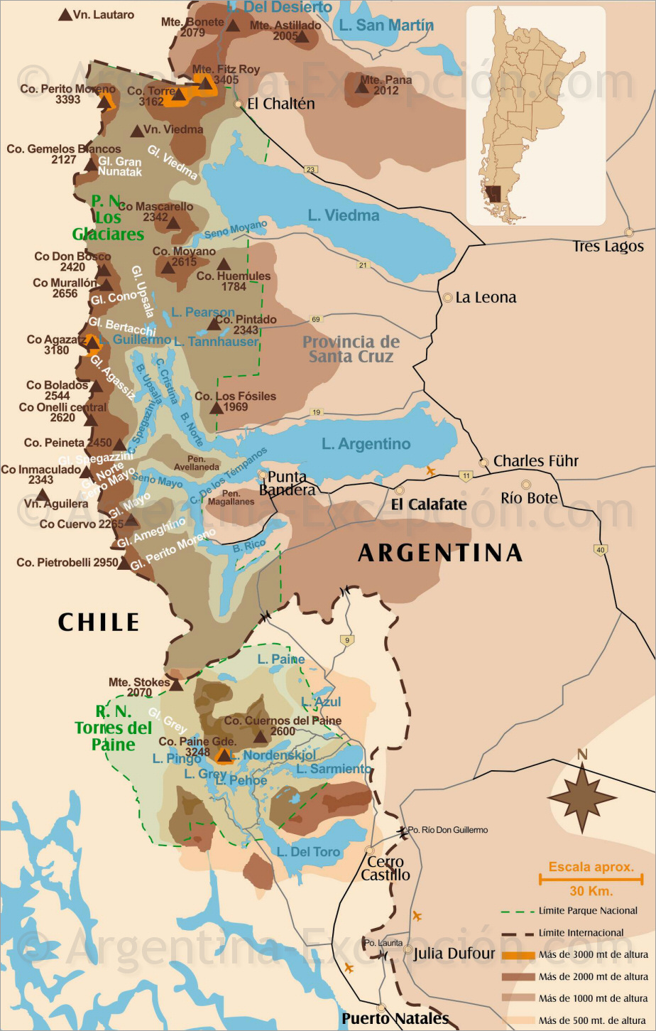carte des glaciers de patagonie perito moreno viedma upsala spegazzini. Black Bedroom Furniture Sets. Home Design Ideas