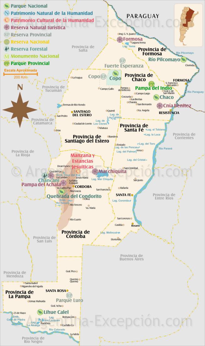 Carte des Parcs de La Pampa