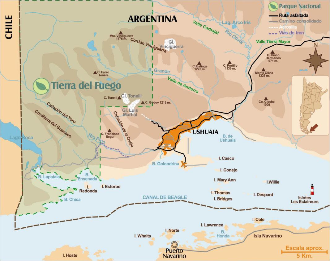 Ushuaia Map, Argentina - Tierra del Fuego, Patagonia