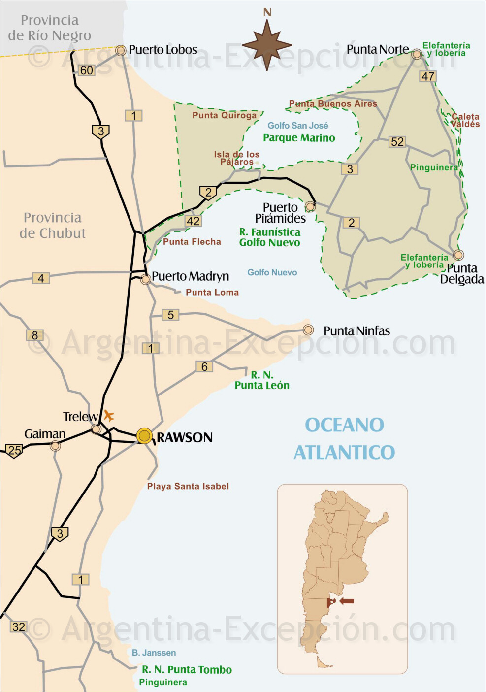 Mapa pennsula de valds patagonia argentina pennsula de valds altavistaventures Choice Image