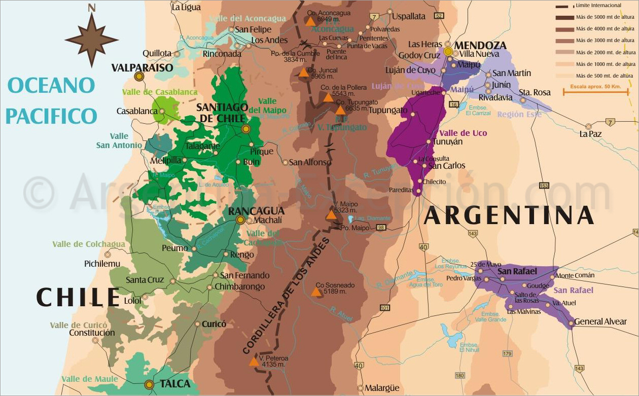 Mendoza Argentina Map Argentina & Chile Wine Country Map   Mendoza wineries map