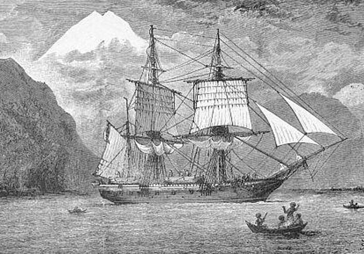 Le navire Beagle traversant le détroit de Magellan