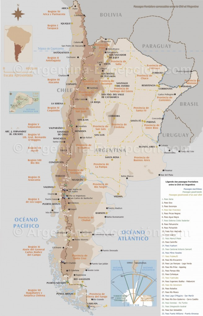 Passages de frontières entre le Chili et l'Argentine
