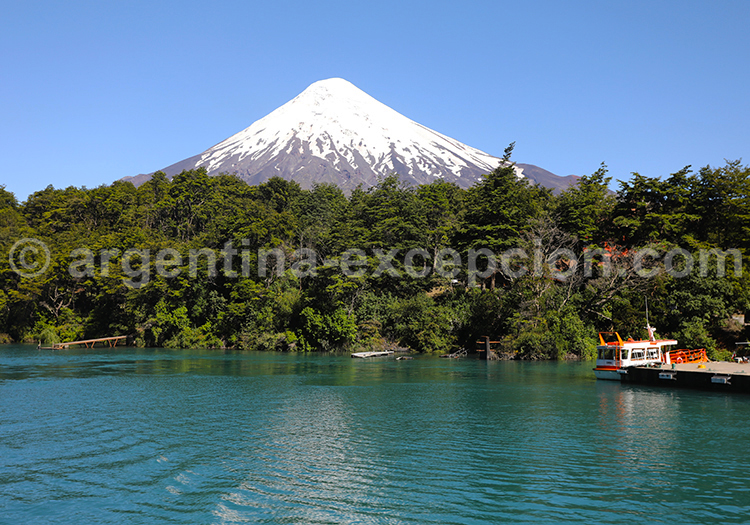 A l'arrivée de la traversée des lacs, panorama sur le volcan Osorno