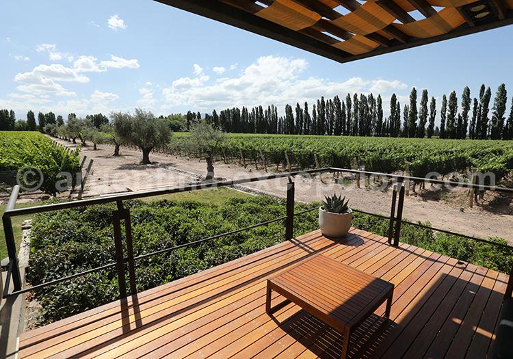 Terrasse de la bodega Casarena, Mendoza avec l'agence de voyage Argentina Excepción