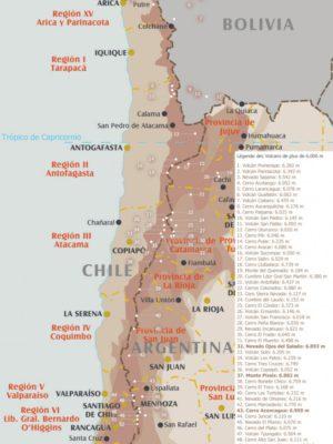Carte des sommets de plus de 6000m