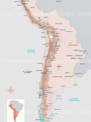 Argentine, Chili, Bolivie, Paraguay et Perou