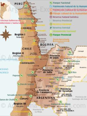 Parcs et reserves Nord-Ouest et Chili