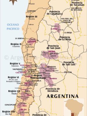 Carte de la route des vins en Argentine et au Chili
