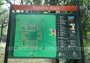 Plan du site archéologique de Santa Ana, Misiones
