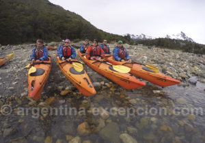 Départ en kayak en direction du Perito Moreno