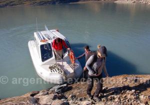 Débarquement au bout du bras sud du lac Argentino