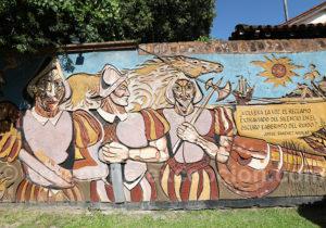 Rue piétonne et fresque murale Av Italia