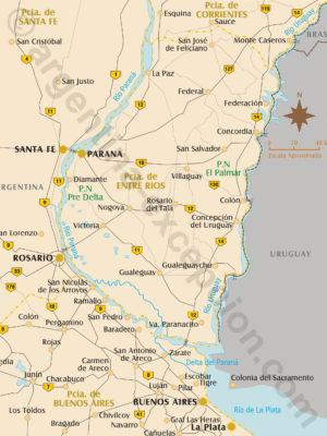 Carte de la province Entre Rios Argentine