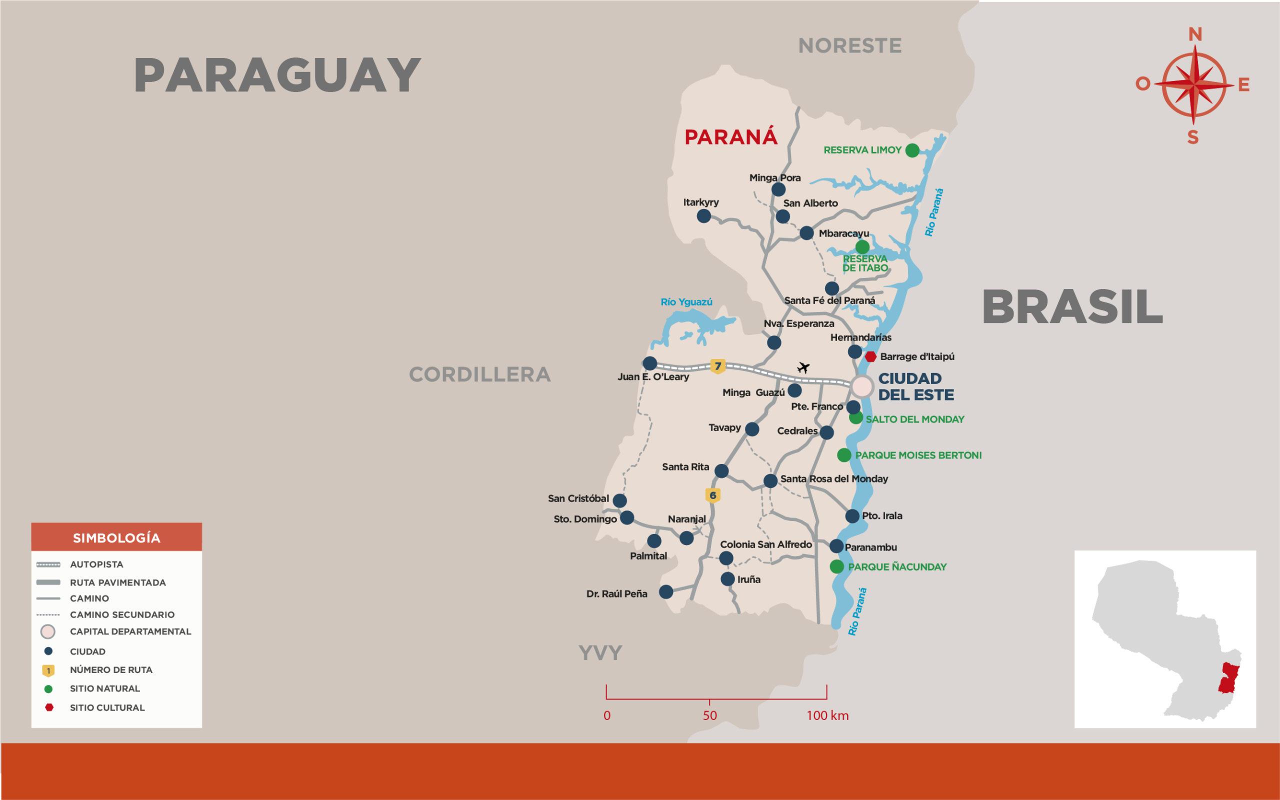 Carte de la région Parana du Paraguay