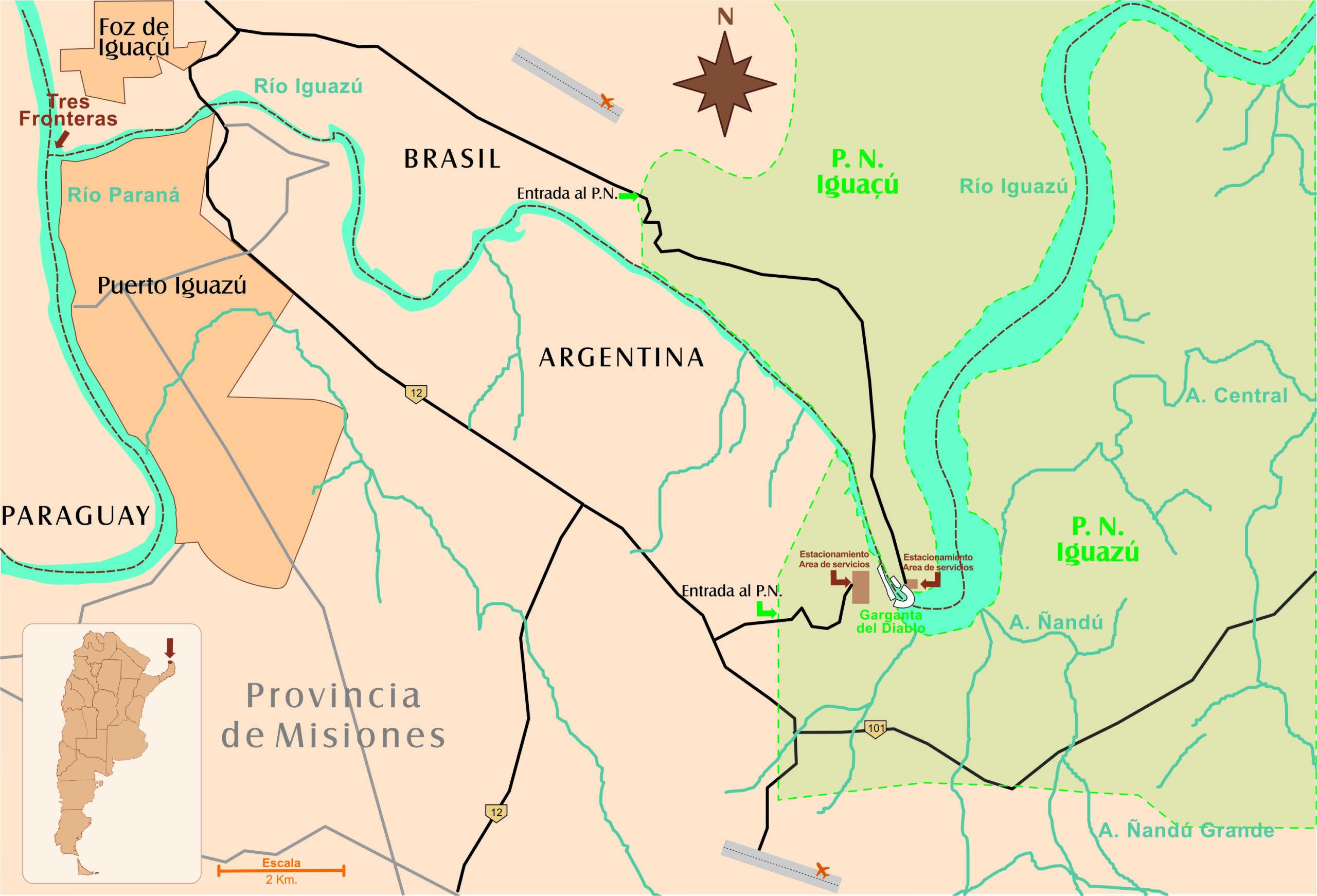 Carte de la zone de Puerto Iguazu et Foz de Iguacu