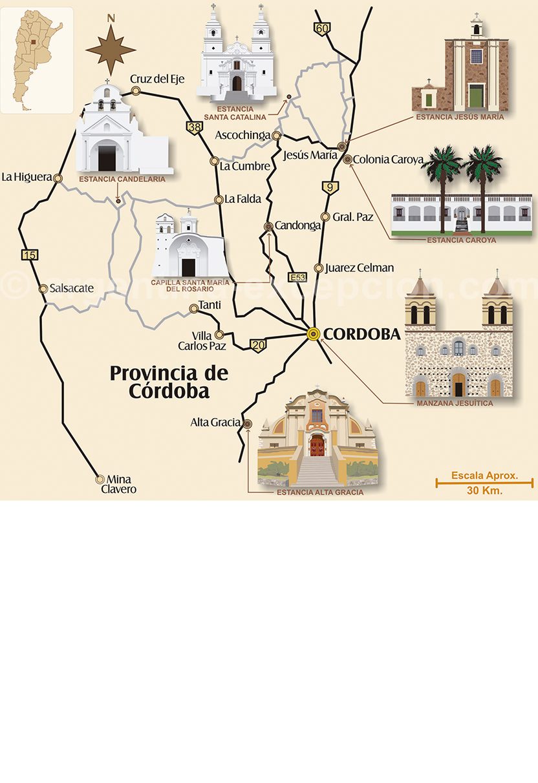 Carte estancias jesuite cordoba