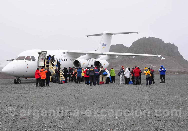 Retour en avion depuis l'antarctique