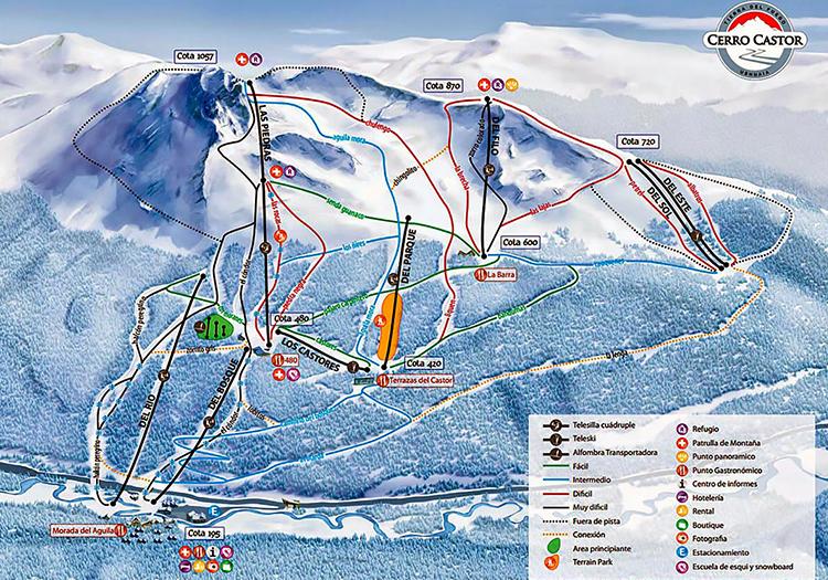 Plan des pistes de la sation de ski de Cerro Castor jpg