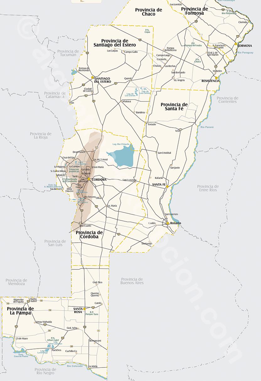 Sierra y pampa carte region Cordoba