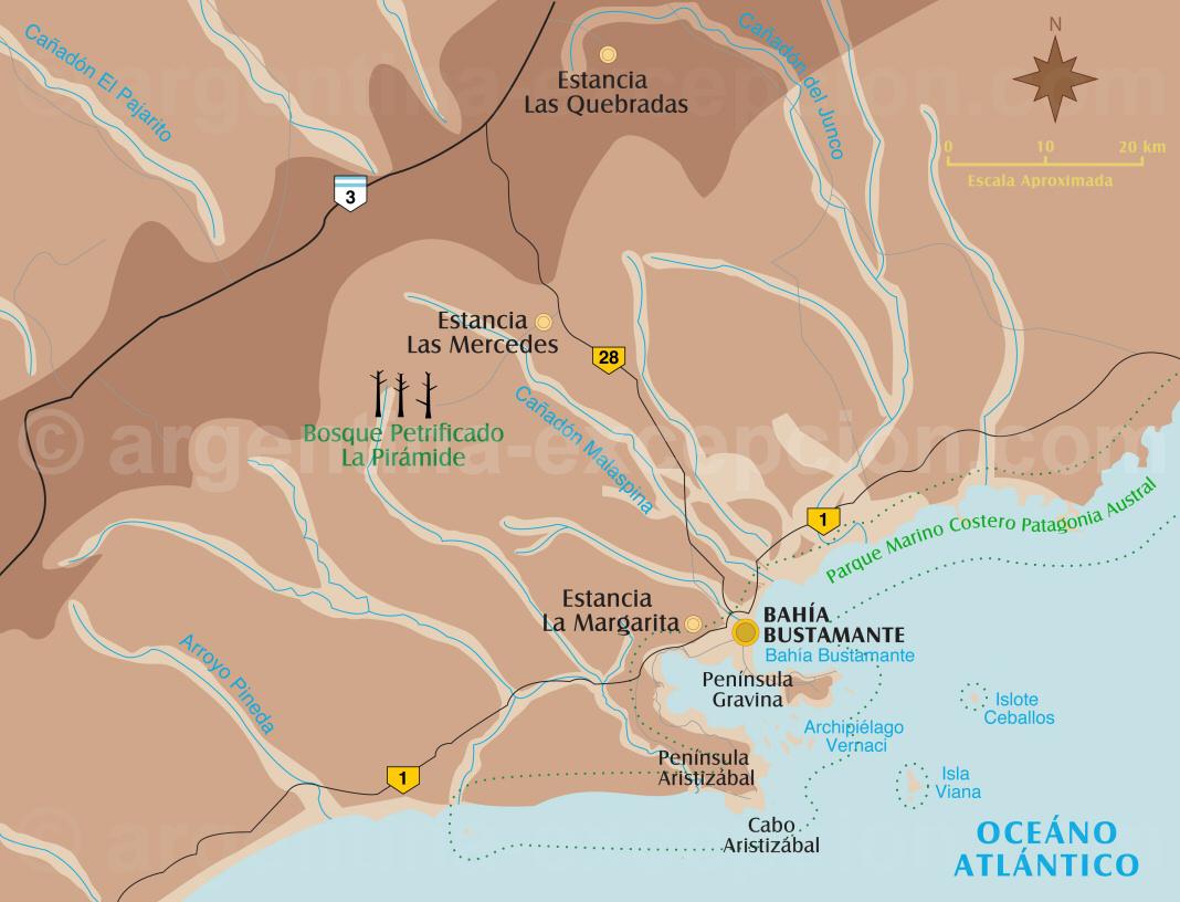 Carte région Bahia Bustamente
